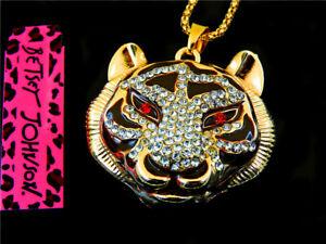 Betsey Johnson Fashionable charm Crystal tiger head Women Pendant Necklace