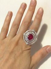 BREATHTAKING BRILLIANCE 5CT NATURAL RED RUBY, CLEAR SAPPHIRES, GOLD PT RING
