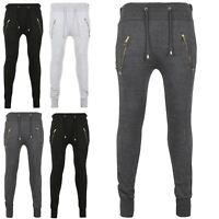 Mens Gym Work Out Fleece SlimFit Golden Zip Side Pockets Bottoms Jogging Trouser
