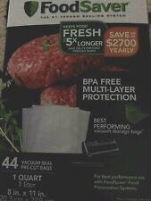 New listing FoodSaver Vacuum Seal Name Brand Bags 44 Pre-Cut 1Qt-Sz Multi-Layer Bpa Free