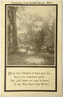 Greetings from South Haven, Minn. Poem Postcard Antique