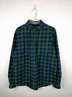 Vintage Mens Flannel Shirt Eddie Bauer Size M Multi Check 100% Cotton Button Up