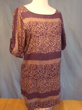 03 EVERLY PURPLE FLORAL POLKA DOT HALF SLEEVE SHIFT DRESS TUNIC SMALL S EUC