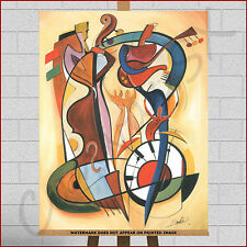 Abstract Canvas Wall Art Frame Boxed Print Picture Jazz Music Big Band Sax Bass