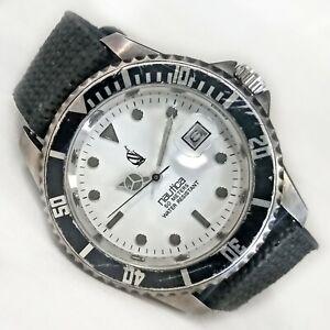 Nautica DE Dive Style Date Watch Rotating Bezel Black Silver 40mm Mens