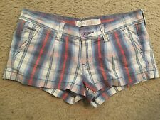 HOLLISTER Stretch Blue Red Plaid Casual Booty Bootie Shorts womens 0