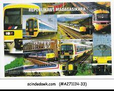 MADAGASCAR - RAILWAY LOCOMOTIVE / TRAINS - MINIATURE SHEET-MINT NH