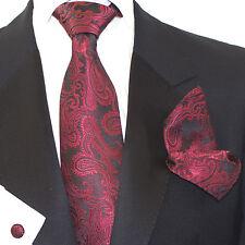Mens Black Red Paisley Jacquard Woven Tie+Hanky & Cuflinks Matching Set ps23