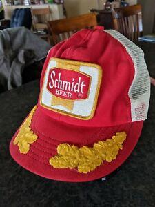 Red VINTAGE SCHMIDT BEER  SNAPBACK HAT Cap patch 1970s Gold Leaf Party on AS IS