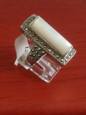92.5 STERLING SILVER MOTHER OF PEARL MARCASITE RING SIZE 7 - ARGENT CREATIONS