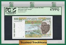 Tt Pk 710Ka 1991 West African States 500 Francs Pcgs 67 Ppq Superb Top Pop!