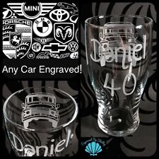 ANY CAR Hand Engraved Personalised Pint Glass! VW Audi BMW Ferrari Ford Merc Jag