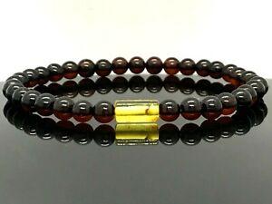 Baltic Amber Bracelet Insecte Inclusion Baril Rond Perles Cadeau 3g 13530