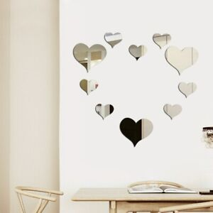 Set Gold Silver 3D Heart Mirror Wall Sticker Wall Decoration For DIY Kids Room