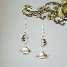 Planet Saturn Moon and Star Celestial Dangly Silver Plated Earrings