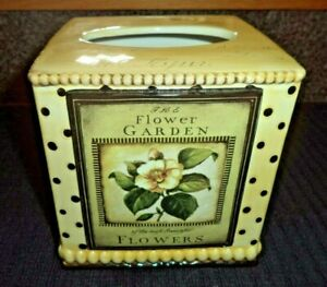 Lovely Ceramic Floral Tissue Box Cover Cube / Square  Light Tan / Yellow