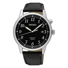 NEW Seiko Gents Kinetic Leather Strap Watch  SKA781P1