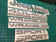 Jeep Wrangler Sport 03-06 Vinyl Refresh Kit TJ 4.0L Stickers Emblem Badge-silver