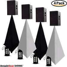 (4 Pack) Pro Dj Scrims, 3-Sided Speaker Stand Covers, 2 White & 2 Black + 4 Bags