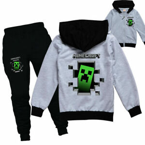 Boys/Girls Kids Minecraft Tracksuit Zip Hooded Top Outfit Tops+Pants Sports Set