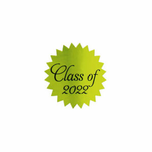 """Gold Foil Class of 2022 Graduation Stickers Seals   1"""" inch Starburst - 500 Pack"""
