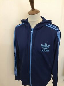RETRO ADIDAS HOODED TRACKSUIT TOP SIZE XL BLUE
