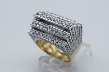 10K Yellow Gold Men's Ring with Round CZ's - Band Size 6.25 #1299