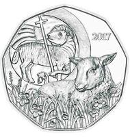 Österreich 5 Euro 2017 Das Osterlamm Silbermünze Handgehoben im Folder