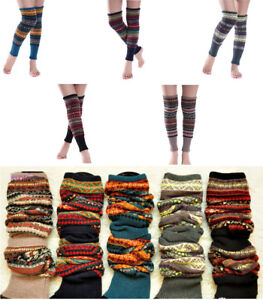 Leg Warmers Leggings Crochet Winter Fair Isle Knee High Knit Boot Warmer Socks