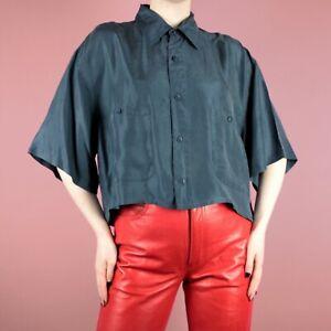 VINTAGE 80s 90s Blue Crop Grunge Womens Retro Silk Shirt Blouse Top M 12 14