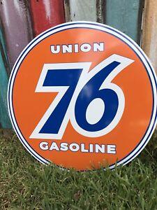 Antique Vintage Old Style Union 76 Gasoline Sign