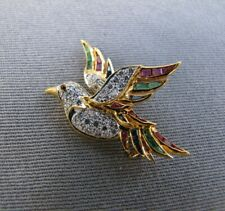 18k gold ,diamonds, sapphire, ruby, and emerald bird pin brooch