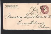 DAYTON, IOWA 1887 COVER BANK OF DAYTON CORNER ADVT.  WEBSTER CO 1877/OP.