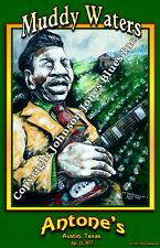 Poster Muddy Waters at Antone's Austin by Cadillac Johnson  12 x 18 in