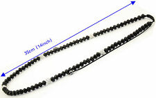 Shamballa white beads and black faceted cut glass beads long necklace black cord