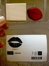 """S.W.A.K."" Stampin'UP! NEW~wood mount-RARE-Puckering lips~ Sealed with a Kiss"