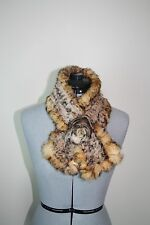 New whisky/beige + black tipping rabbit fur knitted scarf & flower loop closing