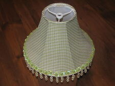 """New Green Check Jubilee Beaded Lampshade - Base 10 1/2"""" Top 4"""", Height 6 1/2"""""""