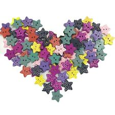 100 Multicolor Star-shaped Wood Sewing Buttons Scrapbooking Knopf Bouton 2 Holes