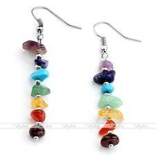 Women 7 Chakra Irregular Natural Gemstone Bead Reiki Ear Drop Hook Earring Gift