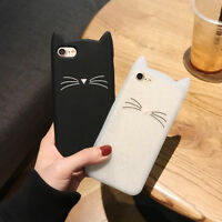 For Various Mobile Phone Case Cover HOT 3D Cute Cartoon Beard Cat Soft Silicone
