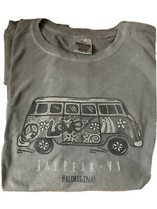 Jay Peak VT XL Grey LS T Shirt With VW Bus Hippy Love And Peace Unisex