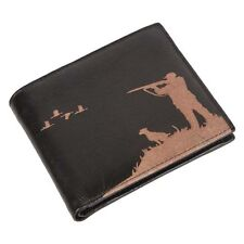 Engraved Leather Mens Wallet Shooting Hunting Luxury Quality with Coin Pocket