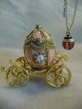 Romanov Imperial Princess Anastasia Peach Egg Coach & Lady Bug Pendant Necklace