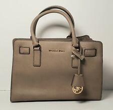 Michael Kors Medium Dillon taupe Saffiano Leather Satchel Handbag