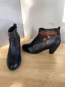 Spring Step  L'Artiste Parfum Black/Brown Sz 37/ 6.5-7 M Ankle Heel Boots