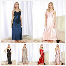 Nightgown Sleepwear Ladies Womens Satin Long Nightdress Silk Lace Lingerie