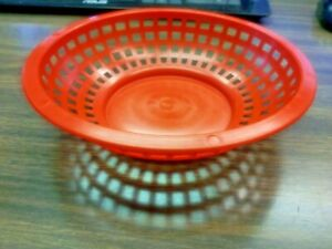 """(12 BASKETS) FOOD BASKET 8"""" RED ROUND FOOD PLASTIC BURGERS&FRIES/CHOICE"""
