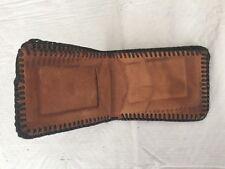 Men's LEATHER Bi Fold Wallet HANDMADE Brown Black Laced Stitch Trim