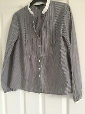 Laura Ashley 12 Striped Grey/white Shirt, Grandad collar and pleated detail